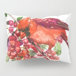 Cardinal Bird and Berries, red green Christmas colors artwork design Cardinal lover Pillow Sham