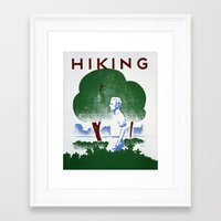 hiking Framed Art Prints featuring Hiking by vigrre