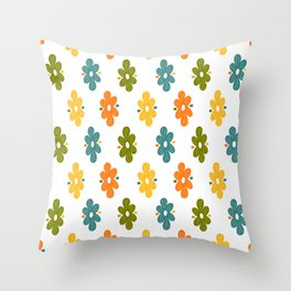 Groovy Retro Skinny Flowers (Spring-Summer pattern) Throw Pillow