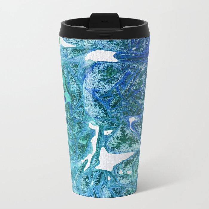 Sea Leaves, Environmental Love of the Ocean Blue Metal Travel Mug