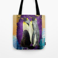 penguins Tote Bags featuring Penguins by GrOoVy Photo Art