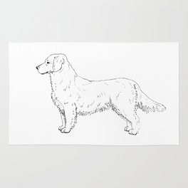 Golden Retriever Ink Drawing Rug