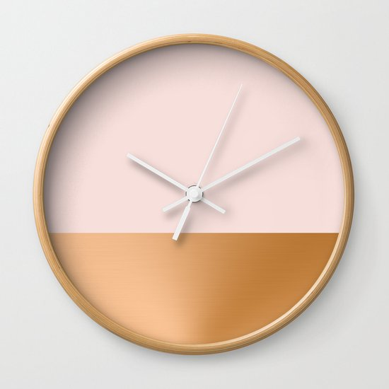 Blush Pink and Copper Wall Clock by Grace : Society6