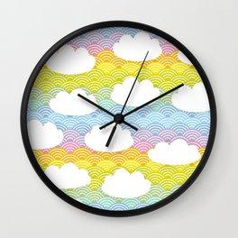 Kawaii white clouds and rainbow sky Wall Clock