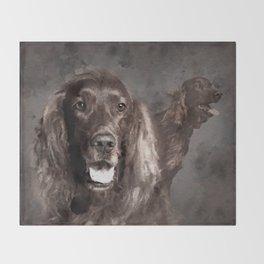 Irish Setter Dogs Digital Art Throw Blanket