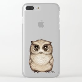 """The Little Owl"" by Amber Marine ~ Graphite & Ink Illustration, (Copyright 2016) Clear iPhone Case"