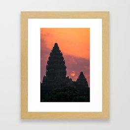 Cloudy sunrise at Angkor Wat Framed Art Print