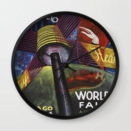 Chicago World's Fair Poster, 1934 Artowrk for Wall Art, Posters, Prints, Tshirts, Men, Women, Kids Wall Clock