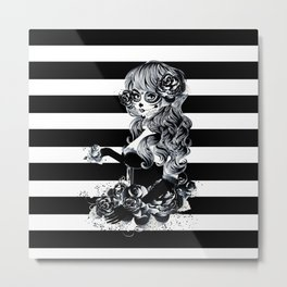 Black & White Sugar Skull Girl Metal Print