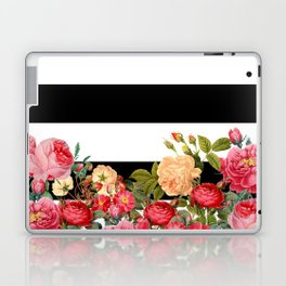 Black and White Stripe with Floral Laptop & iPad Skin