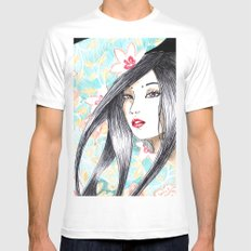 Geisha Glance White Mens Fitted Tee MEDIUM