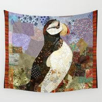 fabric Wall Tapestries featuring Fabric Puffin by Rookery Design