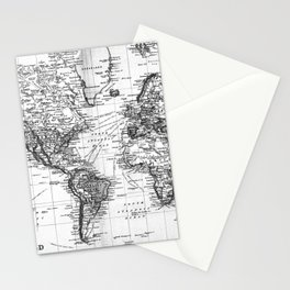 Black and White World Map (1892) Stationery Cards