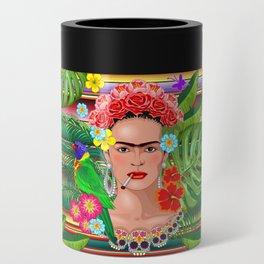 Frida Kahlo Floral Exotic Portrait Can Cooler