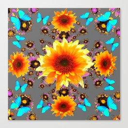 WESTERN BLUE BUTTERFLIES GOLDEN SUNFLOWERS GREY ART Canvas Print
