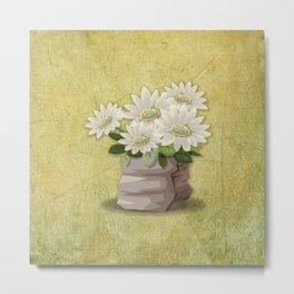 White Flowers on Green Grunge Textured-Look Background Metal Print