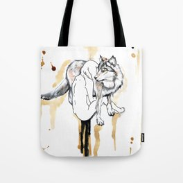 The Girl And The Wolf Tote Bag