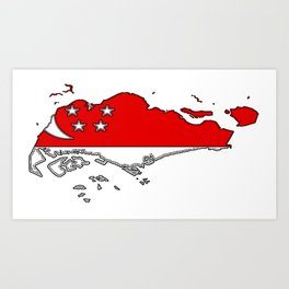 Singapore Map with Flag Art Print