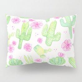 Wild Rose Cactus - Green & Pink Pillow Sham