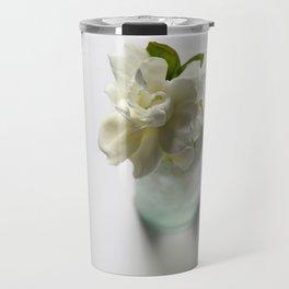 White Gardenia in Aqua Blue Vase Travel Mug