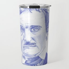 Edgar Allan Poe Portrait in Blue Bic Ink Travel Mug
