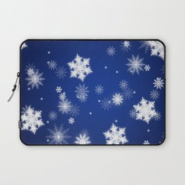 Winter / Christmas Blue and White Snowflakes Laptop Sleeve
