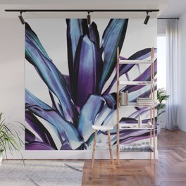 Steel Blue Indigo Teal Abstract Leaves Wall Mural