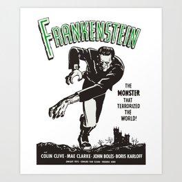 Frankenstein Vintage 1931 Movie Poster, Original Gift Idea, Boris Karloff, Bela Lugosi, Dracula Art Print