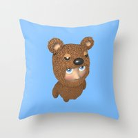 furry Throw Pillows featuring Furry baby by Metin Seven