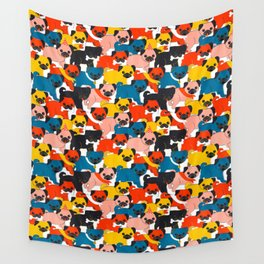 COLORED PUGS PATTERN no2 Wall Tapestry