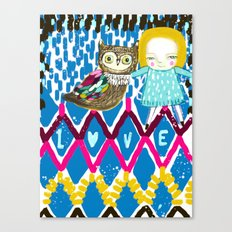 owl and girl love Canvas Print