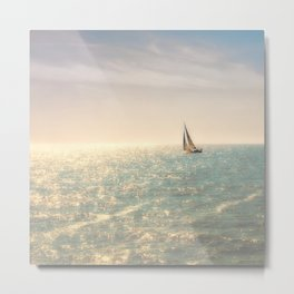 Misty summer day on the sea- a lonely boat Metal Print