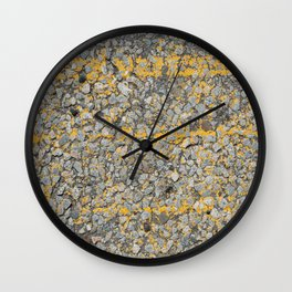 Urban Texture Photography - Yellow Painted Asphalt Wall Clock