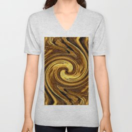 Gold Brown Abstract Sun Rotation Pattern Unisex V-Neck