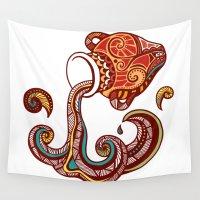 zodiac Wall Tapestries featuring Aquarius Zodiac  by Kerstin Schoene