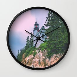 Bass Harbor Lighthouse Sunrise Print Wall Clock
