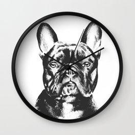 Black And White French Bulldog Sketch Wall Clock