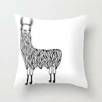 llama Throw Pillows featuring Llama by Lizzie Scott