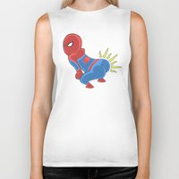 booty Biker Tanks featuring Spidey Booty by Pengew
