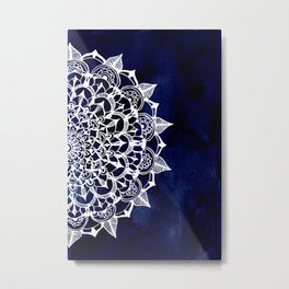 White Lace Medallion on Ink Blue Metal Print