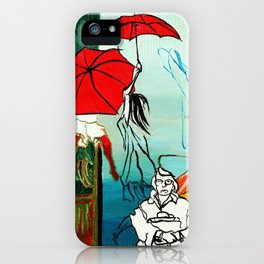 Composition Painting - Umbrella girl with woman iPhone Case