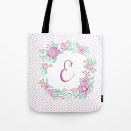 Monogram E - cute girls purple florals flower wreath, lilac florals, baby girl, baby blanket Tote Bag