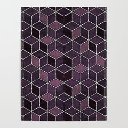 Shades Of Purple & Pink Cubes Pattern Poster