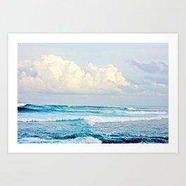 Blue Water Fluffy Clouds Kunstdrucke