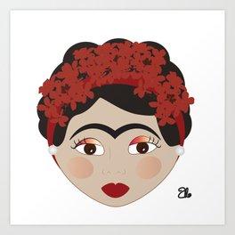 FRIDA KAHLO RED Art Print