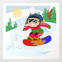 snowboarding Art Prints featuring Winter Sports: Snowboarding by Alapapaju