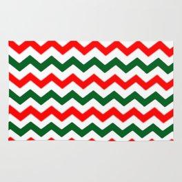 Modern red green white Christmas chevron pattern Rug