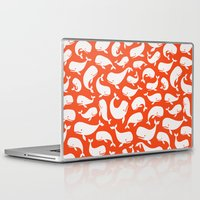 moby dick Laptop & iPad Skins featuring Moby Dick - Red by Drivis