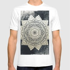 DEEP GOLD MANDALA White Mens Fitted Tee MEDIUM