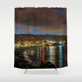 Crescent Moon Over Main Beach Shower Curtain
